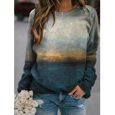 Landscape Prints Round Neck Long Sleeves Casual T-shirts For Women