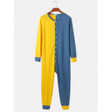 Mens Contrast Color Patchwork Button Up Round Neck Jumpsuit Home Comfy Lounge One-Piece Pajamas