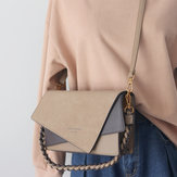 Women Faux Leather Irregular Shape Shoulder Bag Square Bag