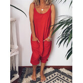 Women Solid Color Strap Jumpsuit with Pockets