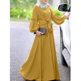 Women Long Sleeve Solid Color Belted O-Neck Button MaxiDress