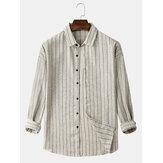 Algodão masculino com listras verticais com botões de manga comprida camisas casuais