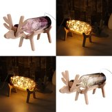 Szkło LED Fairy Elk Deer Light Bottle Jar Lampka nocna Lampa stołowa Christmas Home Decor Prezent