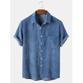 Banggood Designed Mens Casual Corduroy Light Breathable Pocket Short Sleeve Shirts