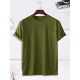 Men Casual Loose Solid Color Letter Crew Neck T-Shirts