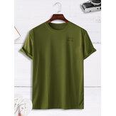 Hombre Casual Loose Solid Color Letter Crew Cuello Camisetas