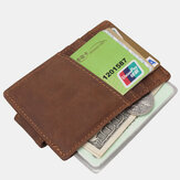 Men Genuine Leather First Layer Retro Multi Card Slot Practical Cash Clip Leather Card Holder Wallet