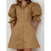 Minivestido casual feminino de manga larga com bolso para cima lapela com botão