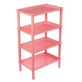 4 Layers Bathroom Storage Rack Shelf Plastic Assembles Storage Basket Rack Kitchen Living Room Organizer Landing Shelf