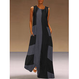 Sleeveless O-neck Patchwork Long Maxi Dress
