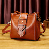 Women Leisure Solid Shoulder Bag Oil Wax Crossbody Bag