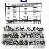 Suleve MXSN6 180Pcs Stainless Steel Metric Hex Nuts Self-locking Nylon Insert Lock Nuts Assortment Kit M3-M12
