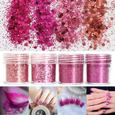 Super Shining Mixed Glitter Powder Cekiny Ozdoba do Paznokci Pył Rose Red Red Mermaid Effect Manicure Orn