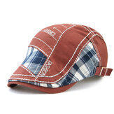 Men Patchwork Color Lattice Pattern Casual Fashion Forward Hat Beret Hat