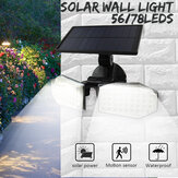 56/78LED Solar Powered PIR Motion Sensor Light Angle Adjustable Outdoor Garden Wall Light