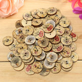 100pcs Mixed Color Wooden Flower Sewing Buttons DIY Craft Bag Hat Clothes Decoration Sewing Button