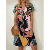 女性抽象フィギュアフェイスプリントVネックカジュアル半袖ミディドレス
