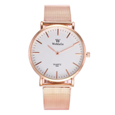 Fashion Couple Zegarek kwarcowy Casual Rose Gold Mesh Band Wrist Watch