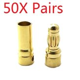 50 Pair 4mm Gold Bullet Connector Banana Plug For ESC Battery Motor