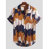 Erkek Soyut Kontrast Colorblock Göğüs Cep Kısa Kollu Casual Gömlek