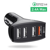 Bakeey 2.4A QC3.0 4 USB Ports Fast Car Charger Mobile Phone Charger for iPhone 12 Pro Max for Samsung Galaxy Note S20 ultra Huawei P40 Pro Oneplus