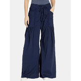 Women Solid Color Elastic Waist Loose Wide Leg Pants With Pocket