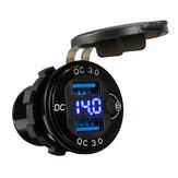 QC3.0 Caricabatterie doppio USB Carica rapida presa di corrente Presa con tensione Display Per auto, camion, barca, yacht, impermeabile