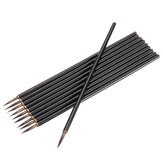 10PCS Rat Beard Oil Paint Brush Wood Handel Different Size Hook Line Pen For Acrylic Painting Art