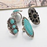 Богемный ретро синий Бирюзовый кольцо