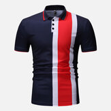 Muscle Fit Color Block Golfe Regular de Manga Curta Camisa