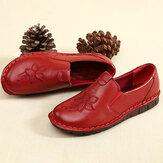 SOCOFY Folkways из воловьей кожи с цветочной вышивкой Soft Подошва слипоны на плоской подошве кожаные туфли