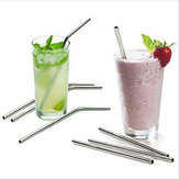 Stainless Steel Metal Drinking Straw Reusable Juice Pipe + Cleaner Brush + Box