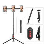 BlitzWolf® BW-BS11 All In One bluetooth Remote Live Light Tripod Multifunctional Selfie Stick for YouTube Tiktok Makeup Phone Camera