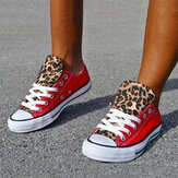 Women Colorblock Leopard Printing Breathable Casual Canvas Shoes