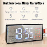 Bakeey Mirror Alarm Часы LED Цифровое голосовое управление Время повтора сигнала Температура Дисплей Будильник Часы