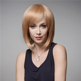 Elegant Human Hair Wig Side Bang Wave Virgin Remy Mono Top Capless 32cm