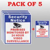 24 Saat Video Gözetimi Sign Sticker Güvenlik Tarafından Korumalı 5X Mülk Kamera