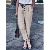 Pure Color Button Loose Cotton Casual Harem Pants For Women