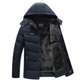 Mens Winter Thick Warm Fleece Hooded Jacket Casual Coats