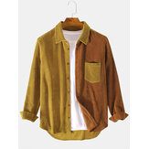 Corduroy Patchwork Turn Down Collar Chest Pocket Long Sleeve Shirts