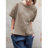 Vintage Yuvarlak Boyun Kısa Kol Düğmeli Pamuk Bluz