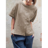 vendimia Blusa redonda de algodón con botones de manga corta Cuello