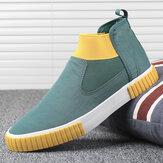 Sneakers da uomo comode e traspiranti in tela elastica slip on high top casual