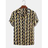 Herren Baumwolle Abstrakt 3D Geometrischer Druck Casual Kurzarm Shirt