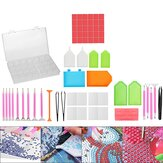 60 Pcs 5D LED Diamond Painting Sets Pen Cross Stitch Tools Kit + Glue + Stickers DIY Tools