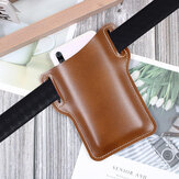 Bakeey Men Vintage Casual Genuine Leather Bag Waist Bag Pouch Leather Belt Bag Purse Under For 6.3 inch Phone Ulefone Armor 9