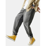 Mens Patchwork Cotton Fleece Drawstring Waist Loose Casual Jogger Pants