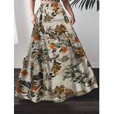 Women 100% Cotton Plant Floral Print High Waist Bohemia Maxi Skirts