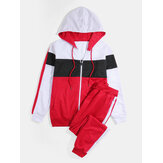 Mens Patchwork Hoodie Jacket & Drawstring Pocket Jogger Pants Sport Suits