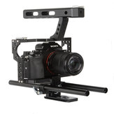 VELEDGE VD-07 Portable Aluminum Camera Cage Rig Stabilizer Top Handle Grip for DSLR Camera DV for Sony A7 A7r A7s II A6300 A6000 for Panasonic GH4